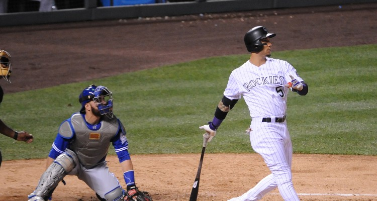 DENVER, CO - JUNE 28: Carlos Gonzalez #5 of the Colorado Rockies hits a three run home run in the fourth inning against the Toronto Blue Jays at Coors Field on June 28, 2016 in Denver, Colorado. The Toronto Blue Jays defeat the Colorado Rockies 14-9.   Bart Young/Getty Images/AFP