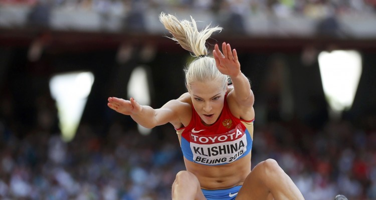 Klishina of Russia competes in the women's long jump qualifying round during the 15th IAAF World Championships at the National Stadium in Beijing