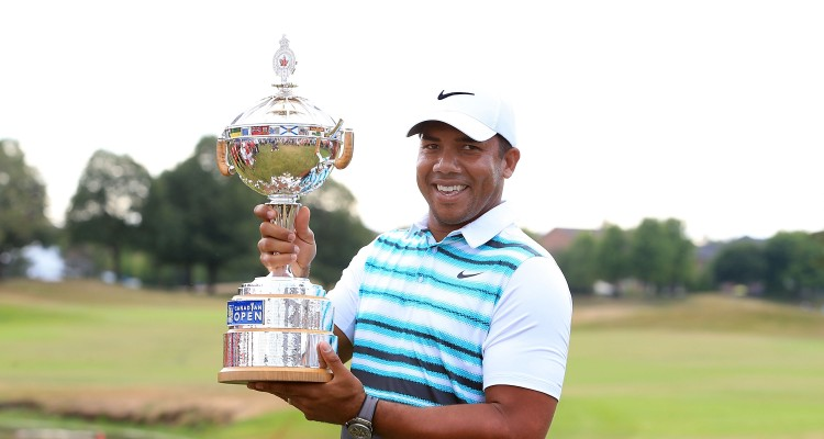 OAKVILLE, ON - JULY 24: Jhonattan Vegas of Venezuela poses with the trophy after winning during the final round of the RBC Canadian Open at Glen Abbey Golf Club on July 24, 2016 in Oakville, Canada.   Vaughn Ridley/Getty Images/AFP