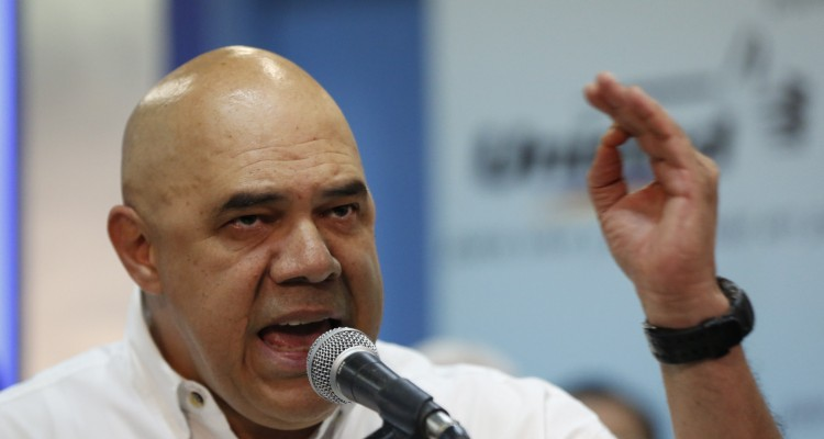 Jesus Torrealba, secretary of the Venezuelan coalition of opposition parties, speaks during a news conference in Caracas
