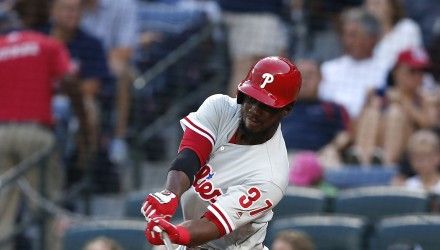 ATLANTA, GA - JULY 29: Centerfielder Odubel Herrera #37 of the Philadelphia Phillies hits and RBI single in the third inning during the game against the Atlanta Braves at Turner Field on July 29, 2016 in Atlanta, Georgia.   Mike Zarrilli/Getty Images/AFP