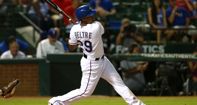 ARLINGTON, TX - AUGUST 03:  Adrian Beltre #29 of the Texas Rangers hits a home run to complete the cycle in the fifth inning during a game against the Houston Astros at Globe Life Park in Arlington on August 3, 2015 in Arlington, Texas.  (Photo by Sarah Crabill/Getty Images)