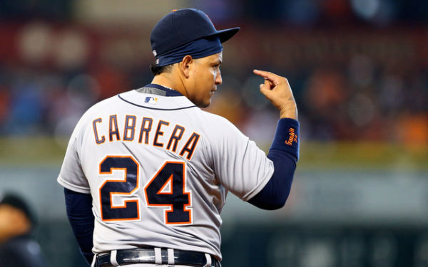 Aug 16, 2015; Houston, TX, USA; Detroit Tigers first baseman Miguel Cabrera reacts against the Houston Astros at Minute Maid Park. Mandatory Credit: Mark J. Rebilas-USA TODAY Sports