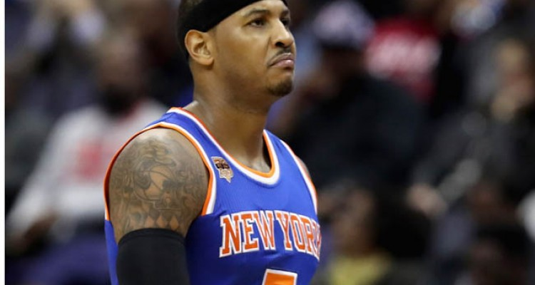 WASHINGTON, DC - NOVEMBER 17: Carmelo Anthony #7 of the New York Knicks comes out of the game against the Washington Wizards at Verizon Center on November 17, 2016 in Washington, DC. NOTE TO USER: User expressly acknowledges and agrees that, by downloading and or using this photograph, User is consenting to the terms and conditions of the Getty Images License Agreement.   Rob Carr/Getty Images/AFP